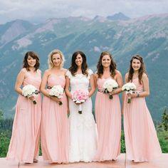 Pink J Crew Bridesmaid Dresses | James Christianson Photographer | theknot.com