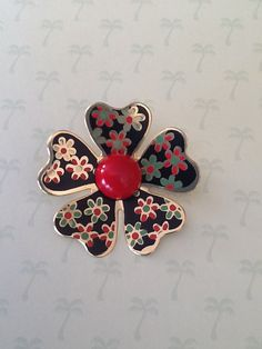 Vintage 1960s Red green black enamel Daisy Blossom by QuiltsETC, $16.99
