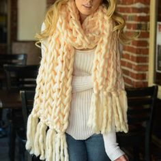 c590744174aeb9 Inspire Uplift Clothes Beige / long 130 cm Handmade Chunky Knit Scarf  Chunky Knit Scarves,