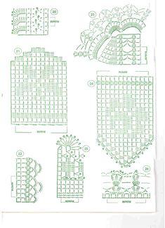 Puntilla vertical. Filet crochet. Patrón pattern.