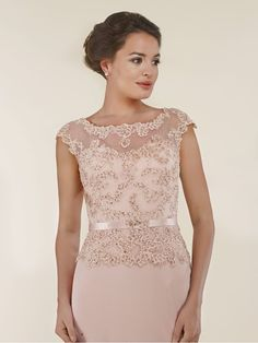 Cap Sleeves Illusion Neckline Lace and Chiffon Mother of The Bride Dresses 99803011 Summer Dresses With Sleeves, Mother Of The Bride Dresses Long, Mother Of Bride Outfits, Lace Dress With Sleeves, Cap Sleeves, Mob Dresses, Party Wear Dresses, Blue Bridesmaid Dresses Short, Black Dress Outfits