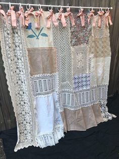 Shower Curtain Shabby Chic Vintage Crochet Vintage Embroidery Vintage Linen Curtain Home Decor