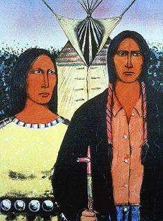 Native Art Share-David P. Bradley (Chippewa) American Indian Gothic, lithograph on paper, Heard Museum. Native American Images, Native American Artists, American Indian Art, American Indians, Image American, American Gothic House, American Gothic Parody, Paul Gauguin, Deviant Art