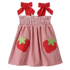 ~ Rare Editions red gingham STRAWBERRY applique seersucker dress with bows at shoulder straps and elasticized bodice for comfort (girls Smocked Baby Dresses, Toddler Girl Dresses, Little Girl Dresses, Toddler Girls, Baby Girl Dress Patterns, Baby Dress Design, Strawberry Dress, Seersucker Dress, Applique Dress