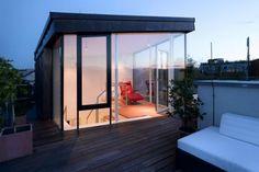 Modern Loft Interior Design of Art Nouveau House Rooftop Terrace Design, Rooftop Patio, Patio Roof, Terrace Ideas, Pergola Ideas, Pergola Roof, Pergola Kits, Loft Interior Design, Exterior Design
