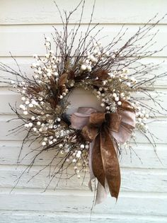 I love this twig wreath and white berries for a winter wreath. Winter Christmas, Christmas Crafts, Christmas Decorations, Holiday Decor, Elegant Christmas, Natural Christmas, Twig Wreath, Door Wreaths, Tulle Wreath