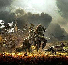"Ron & Grey Wind leading the men into battle. ""They say Rob always go where the fighting is thickest."" Sanza Stark"