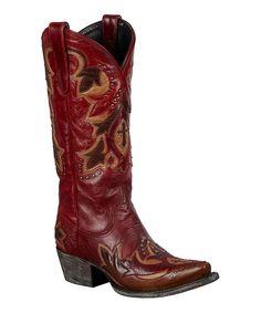 Dark Red Stella Leather Cowboy Boot by Lane Boots #zulily #zulilyfinds