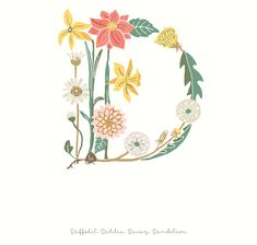 Botanical Alphabet   The Ink Nest  letter D