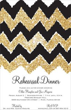Golden Chevron Invitations