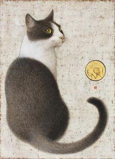 Cats in Art & Illustration: Toshiyuki Enoki: Hijiki. Frida Art, Image Chat, Japanese Cat, Illustration Art, Illustrations, Gatos Cats, Photo Chat, White Cats, Black Cats