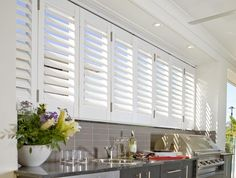 At CurtainWorld, we're experts in designing custom-made curtains, shutters & blinds in Perth, WA. If you want to enhance your rooms, get in touch today! Outdoor Bbq Kitchen, Outdoor Kitchen Design, Outdoor Kitchens, Outdoor Walls, Outdoor Rooms, Front House Landscaping, Shutter Designs, Shutter Images, Home Cooler