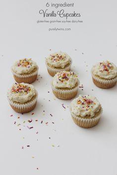 Vanilla cupcakes (gluten, grain, & dairy-free) glutenfree coconut butter frosted cupcakes grainfree made from 6 ingredients purelytwins Best Vanilla Cupcake Recipe, Vanilla Cupcakes, Cupcake Recipes, Baking Recipes, Cupcake Cakes, Dessert Recipes, Paleo Cupcakes, Mocha Cupcakes, Banana Cupcakes