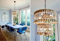 Clever vintage spoons chandelier - imagine this in a greasy spoon diner or over your breakfast nook! Simple Chandelier, Chandelier Lighting, Chandeliers, Chandelier Ideas, Lampshade Chandelier, Pendant Lights, Diy Luz, Wooden Lamp, Jar Lights