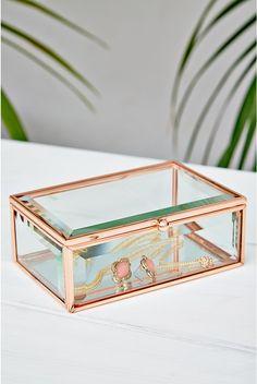 Oola Rose Gold Glass Jewellery Box