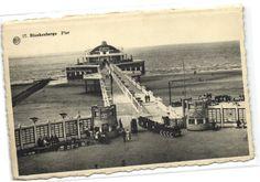 1 old postcard train Blankenberge trein op pier