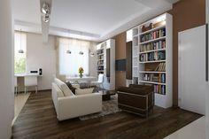 Apartament de 60 mp cu 2 camere în nuanțe de bej-maro - Edifica Design Case, Bookcase, Divider, House Design, Shelves, Modern, Room, Furniture, Design Interior