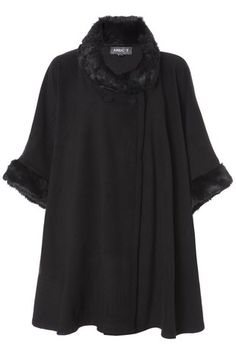 Black Faux-Fur Trimmed Cape in JACKETS & COATS from Apricot