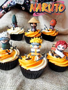 These Naruto Cupcakes are so CUTE! (They should have made Deidara and Sasori too, but these are still cute! Bolo Do Naruto, Bolo Tumblr, Naruto Birthday, Anime Cake, Cupcakes Decorados, Cute Desserts, Something Sweet, Cake Designs, Sweet 16