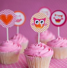 Cute Baby Owl Cupcake Toppers - Set of 12 - Pink, Orange and Chevron - Party Circles - Great for Baby Shower or Birthday Party. $5.00, via Etsy.