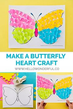 Make a colorful butterfly as a cute spring or summer art project for kids! projects for summer BUTTERFLY PAPER HEART CRAFT - Hello Wonderful Kids Crafts, Summer Crafts For Kids, Preschool Crafts, Art For Kids, Quick Crafts, Preschool Kindergarten, Kids Diy, Toddler Crafts, Creative Crafts