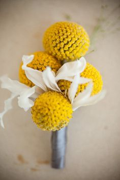 yellow & gray wedding flower boutonniere, groom boutonniere, groom flowers, add pic source on comment and we will update it. www.myfloweraffair.com can create this beautiful wedding flower look.