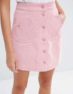 Lazy Oaf Button Front Mini Skirt With Heart Pockets In Cord at ASOS. Pastel Fashion, Kawaii Fashion, Cute Fashion, Look Fashion, Fashion Details, Fashion Outfits, Fashion Design, Ladies Fashion, Fashion Ideas