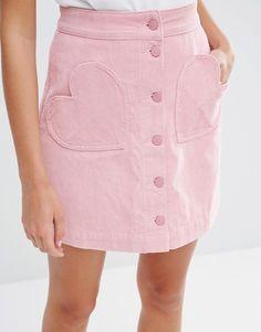 Image 3 - Lazy Oaf - Mini-jupe en velours côtelé avec boutons sur le devant et poches en cœur