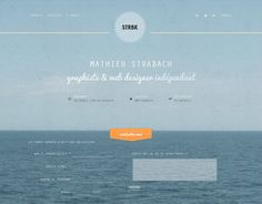 """Love the full background image & the """"contact"""" button hanging on the horizon. French web designer, Mathieu Strabach."""