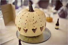 Paint and carve pumpkins {with hearts, words, or your wedding date} for fall wedding decor #budget #DIY #autumn