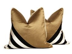 Set of Gold Silk Striped Sleeve Pillows by CCDeuxVie on Etsy, $105.00