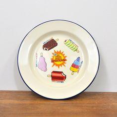 Walls Enamel Plate Summer Days, Enamel, Walls, Ice Cream, Plates, Tableware, No Churn Ice Cream, Licence Plates, Vitreous Enamel