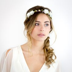 Couronne de fleurs blanc / vert - CIRRUS : Accessoires coiffure par nuagecolore
