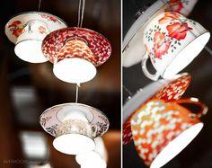 Hur gör man en egen lampskärm lätt? Taklampor, ljuskronor, återvunnet, tekoppar