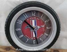 FORD MUSTANG Tire CLOCK Wheel SIGN Shelby Cobra Route 66 NASCAR Garage Mobil