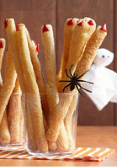 Spooky Breadstick Fingers -- Serve these festive fingers with your favorite creamy spinach dip. They're sure to be a fan favorite appetizer at your Halloween party!