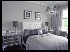 Love the grey bedroom