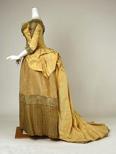 Dress Date: 1885–89 Culture: American Medium: silk, metallic thread, cotton