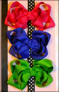 Set of 3 Solid Boutique Bows Your Color Choice