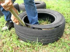 How to cut a tire and make it into a garden pot.wmv - YouTube