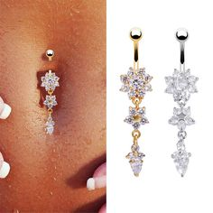 New Dangle Snowflake Chain Piericing Ring Rhinestone Body Piercing Dangle Crystal Navel Belly Button Bar Barbell Rings