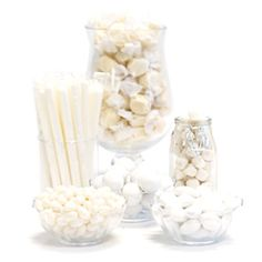 White Candy Buffet Ideas. Huge selection of assorted candy types, colors & containers - perfect for planning your candy buffet.
