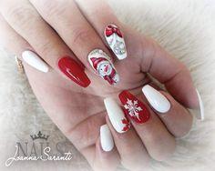 Christmas and Holiday Nail Art Design Ideas Christmas Nail Art Design Ideas: Christmas Coffin Nails; Christmas Nail Art Designs, Holiday Nail Art, Winter Nail Designs, Xmas Nail Art, Cute Christmas Nails, Xmas Nails, Red Nails, Simple Christmas, Pastel Nails