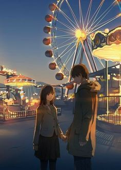 Anime picture with original tall image short hair looking at viewer brown hair brown eyes sky couple holding hands evening girl male skirt miniskirt necktie pantyhose pants ferris wheel carousel Manga Couple, Anime Love Couple, Couple Cartoon, Cute Anime Couples, Bts Art, Graphisches Design, Cute Couple Art, Anime Lindo, Couple Illustration
