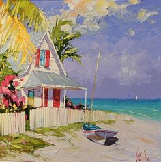 "Pink Shutters by Peter Vey Oil ~ 20"" x 20"""