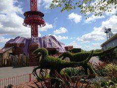 Dinosaur Garden near Magma drop tower ride.