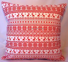 Cushion covers in Fair Isle style fabric in by ImogenAllenDesigns