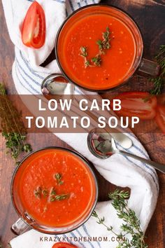 Ready in 30 minutes, you won't even miss the carbs, calories, or the cream in this Low Carb Low-Calorie Homemade Tomato Soup. Unique Recipes, New Recipes, Soup Recipes, Easy Recipes, Dinner Recipes, Low Carb Recipes, Healthy Recipes, Healthy Soup, A Food