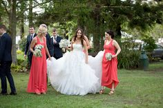 Bridal party helping with dress, Old Petrie Town Brisbane. www.lanicarter.com