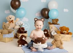 Celebrate a milestone in your baby's life with themed baby cake smash photos by Brandie Narola Photography.